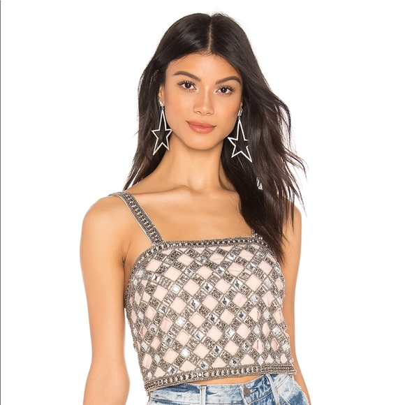 ecc43fdb40a NBD Tops | X By Travis Embellished Crop Top Nude Xs | Poshmark